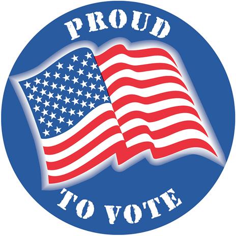 "Proud to Vote w/Flag 2"" Circle Sticker"
