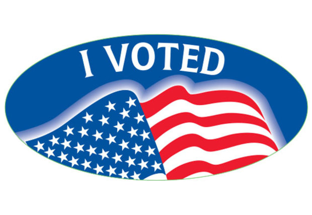 I Voted w/Flag Oval Sticker