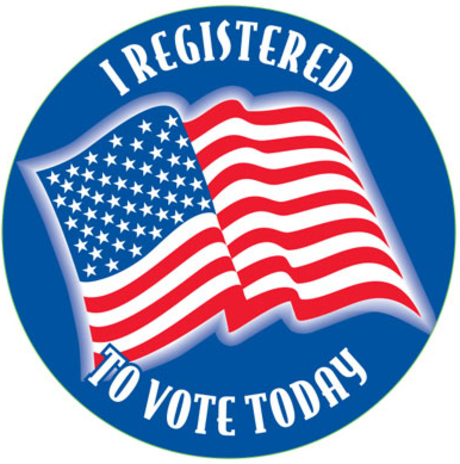 "I Registered to Vote Today 2"" Sticker"