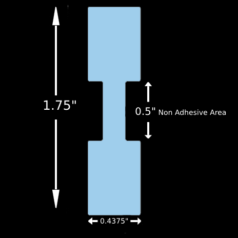 """Jewelry Label - 1.75"""" x 0.4375"""" Blue Tyvek Barbell Square Ends, Thermal Transfer"""