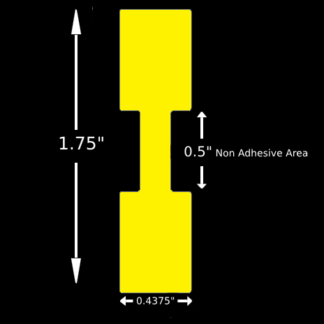 """Jewelry Label - 1.75"""" x 0.4375"""" Yellow Tyvek Barbell Square Ends, Thermal Transfer"""